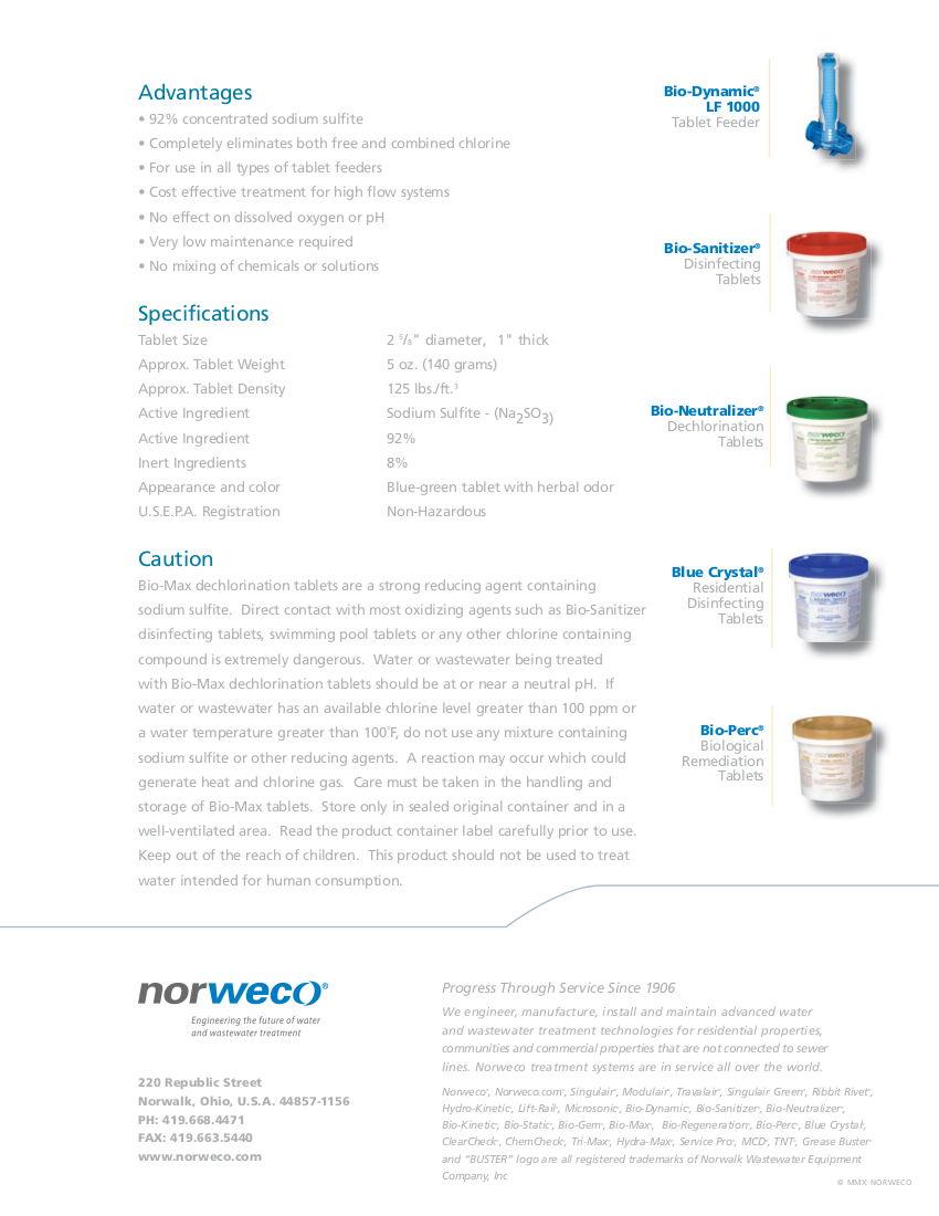 Norweco Bio-Max Dechlorination Tablets