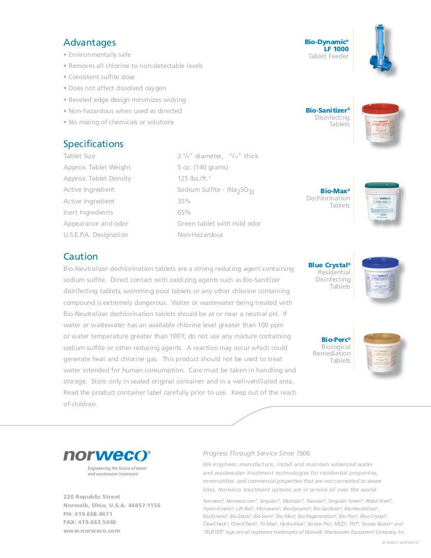 Norweco Bio-Neutralizer Tablets