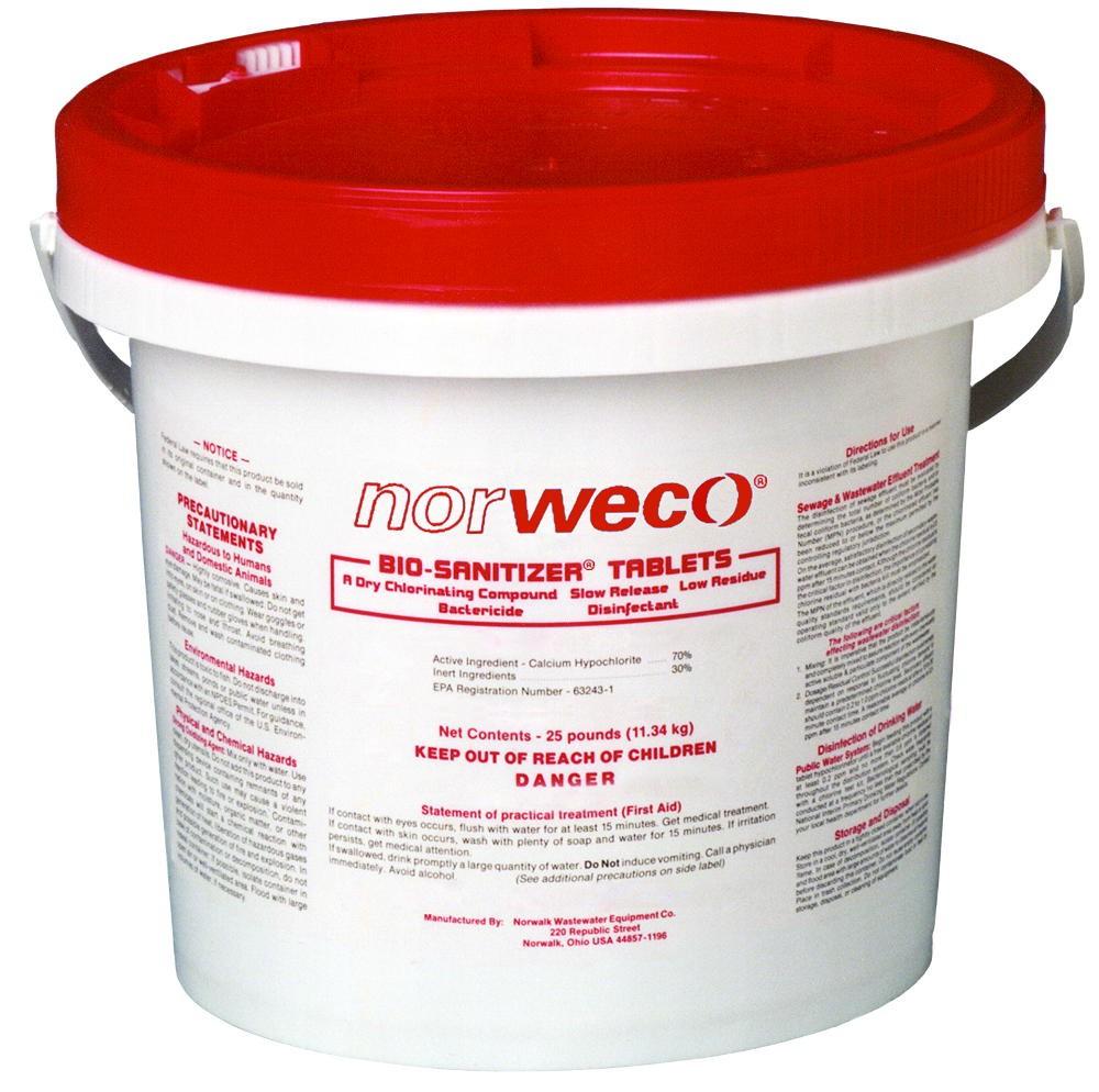 Norweco Bio-sanitizer Septic Chlorine Tablets - 25lb - 70% Minimum Available Chlorine