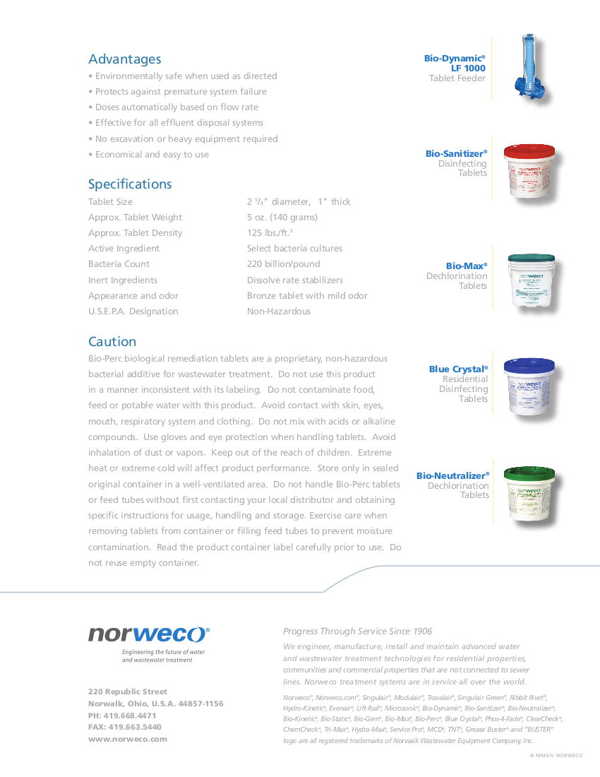Norweco Bio-Perc Remediation Tablets