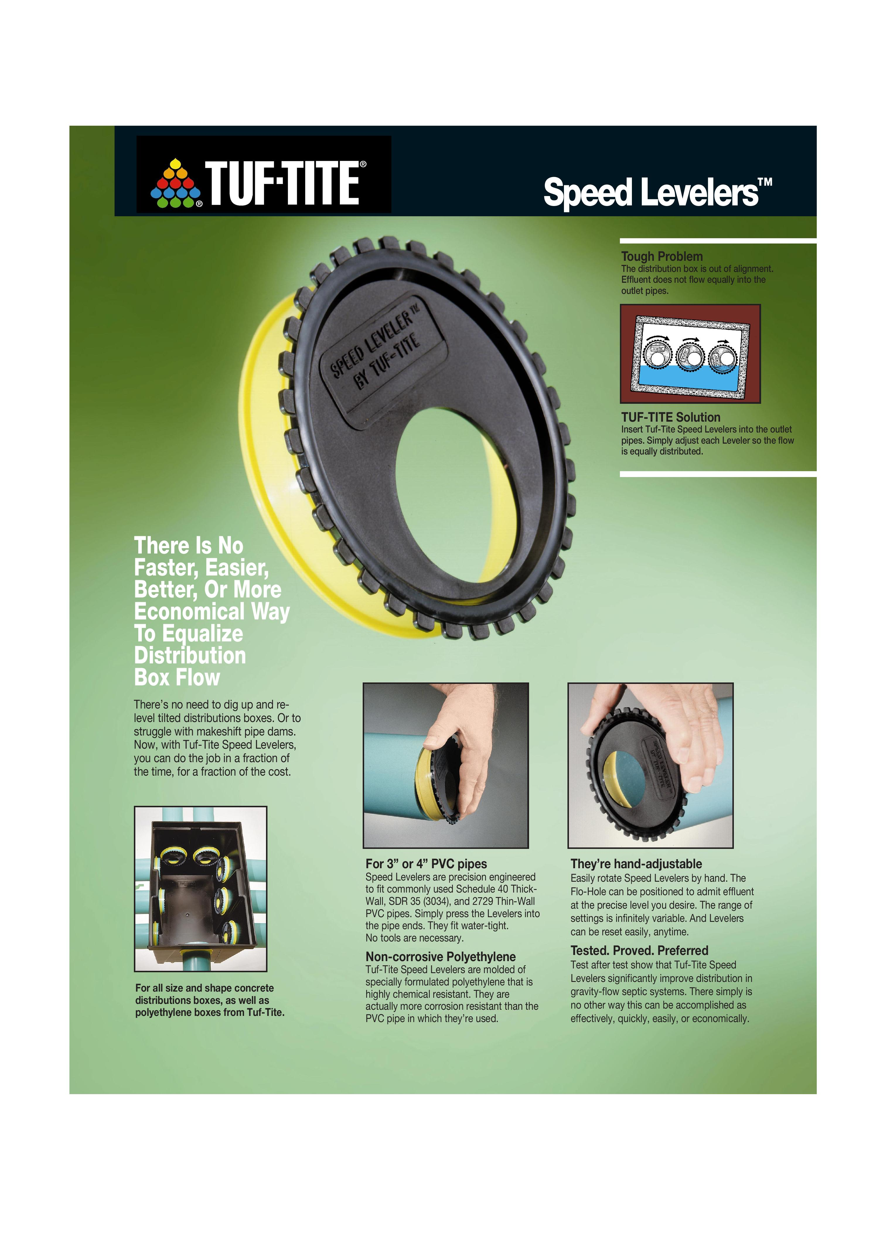 Tuf Tite Sl 3 Speed Leveler For 3 Quot Pipe Tg Wastewater
