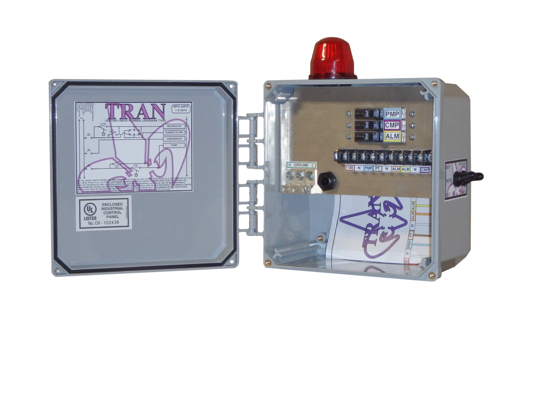 Tran N2 Aerobic Septic Control Panel Without Timer With